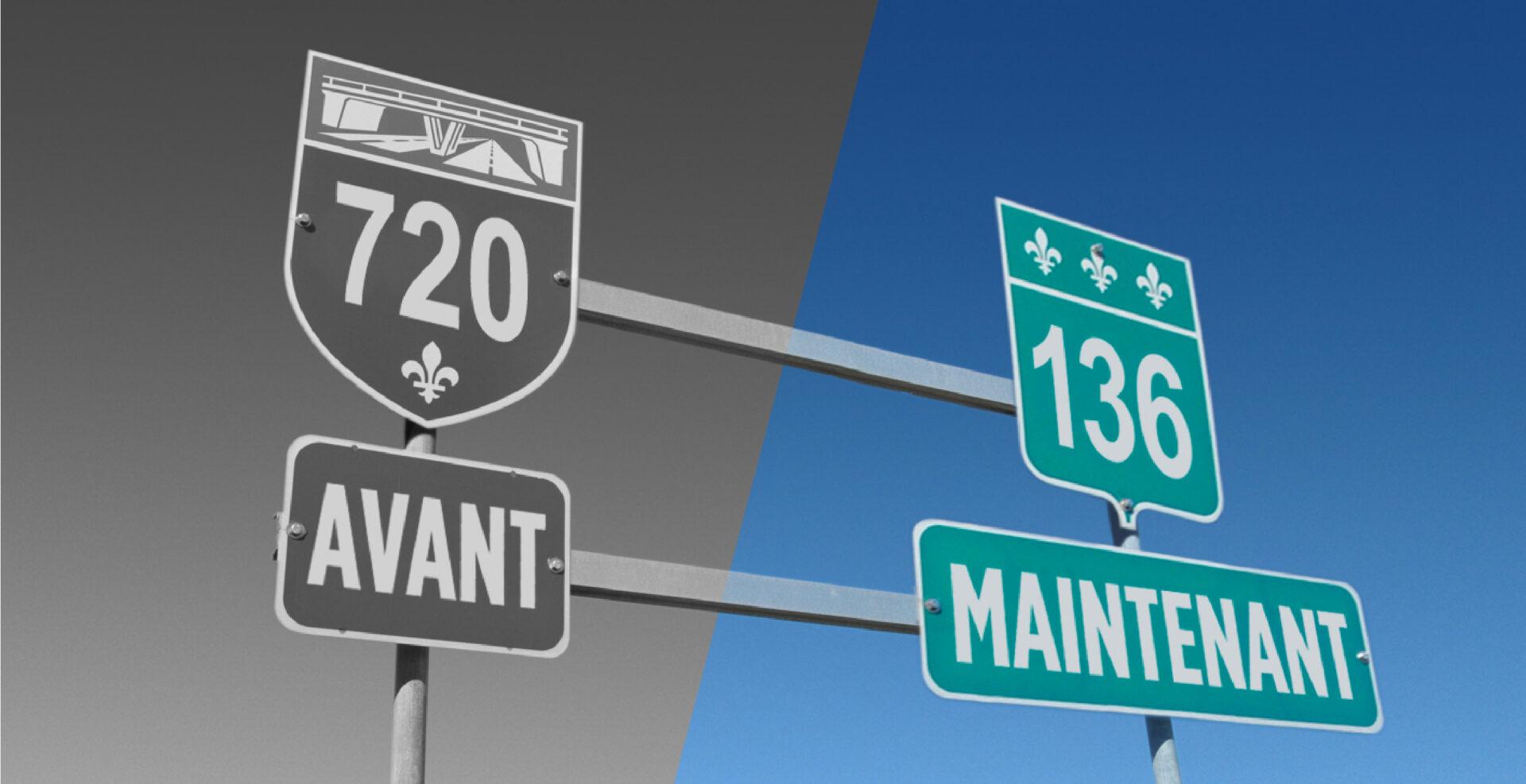 L'autoroute 720 devient la route 136 1